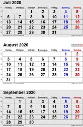 3-Monats-Kalender Juli/August/September 2020 im Hochformat