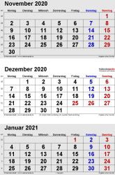 3-Monats-Kalender November/December 2020& Januar 2021 im Hochformat