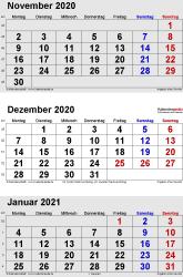 3-Monats-Kalender November/Dezember 2020& Januar 2021 im Hochformat
