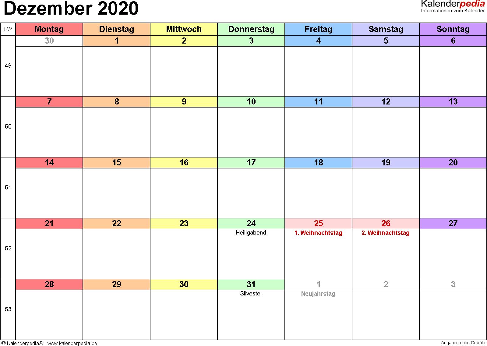 Kalender Dezember 2020 (Querformat) als Excel-Vorlage