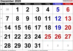 Kalender Dezember 2020 im Querformat, grosse Ziffern