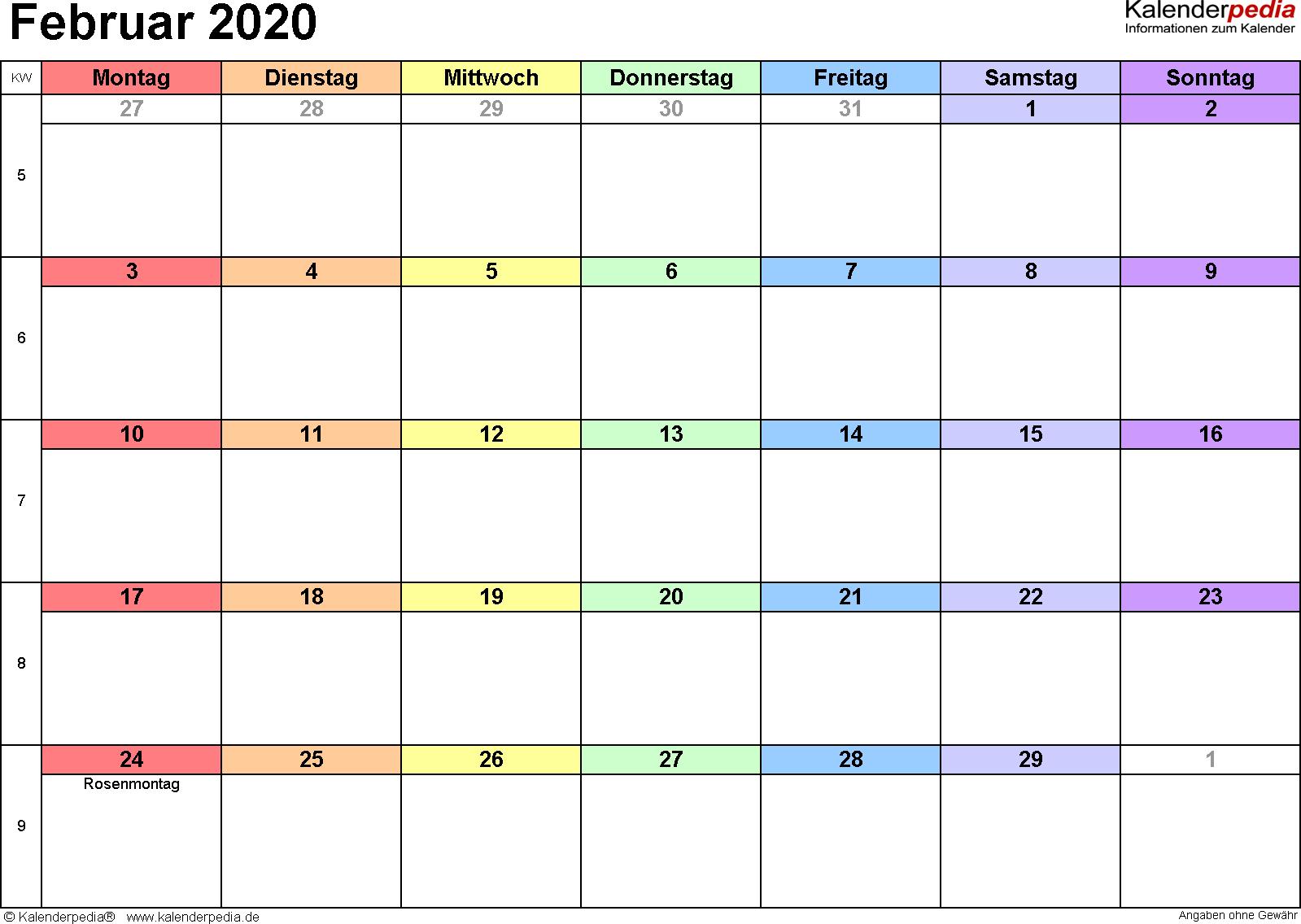 Kalender Februar 2020 (Querformat) als PDF-Vorlage