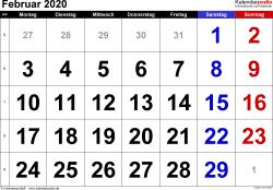 Kalender Februar 2020 im Querformat, grosse Ziffern
