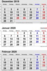 3-Monats-Kalender Dezember 2019/ Januar/Februar2020 im Hochformat