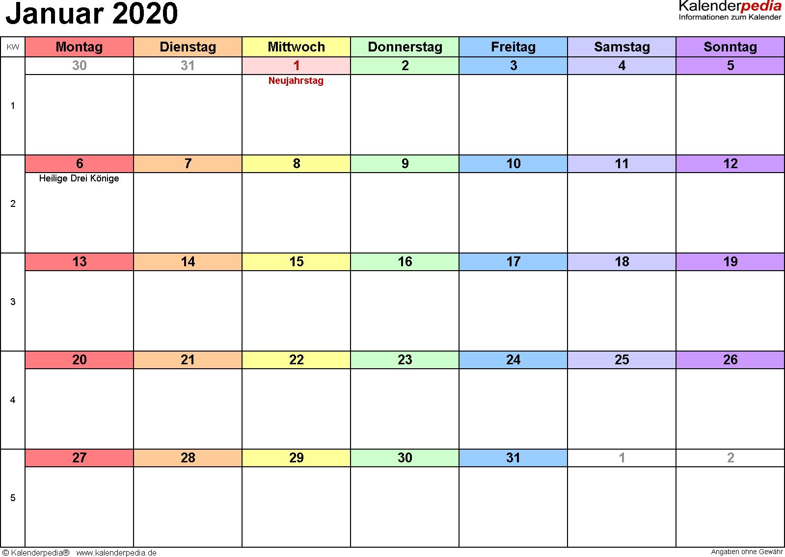 Kalender Januar 2020 (Querformat) als PDF-Vorlage