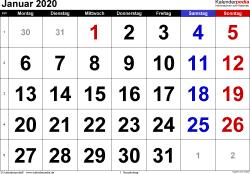 Kalender Januar 2020 im Querformat, grosse Ziffern