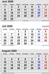 3-Monats-Kalender Juni/Juli/August 2020 im Hochformat