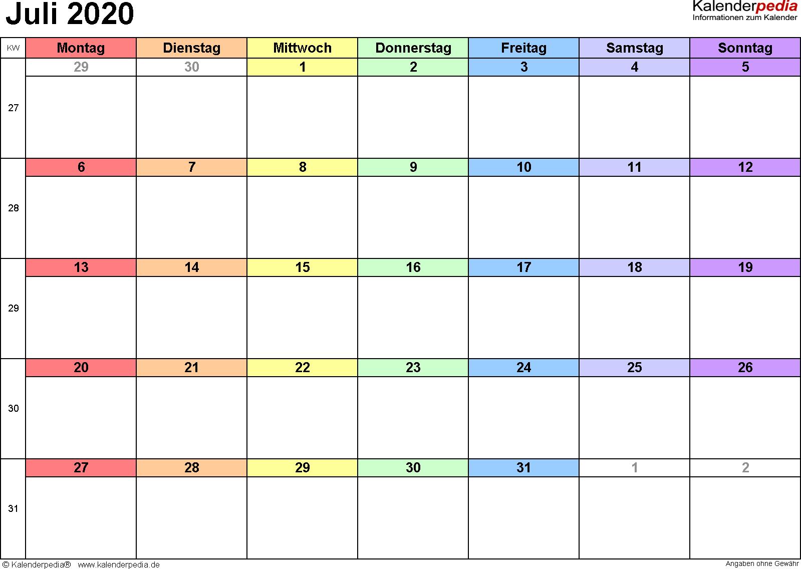 Kalender Juli 2020 (Querformat) als Excel-Vorlage