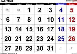 Kalender Juli 2020 im Querformat, grosse Ziffern