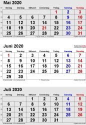 3-Monats-Kalender Mai/Juni/Juli 2020 im Hochformat