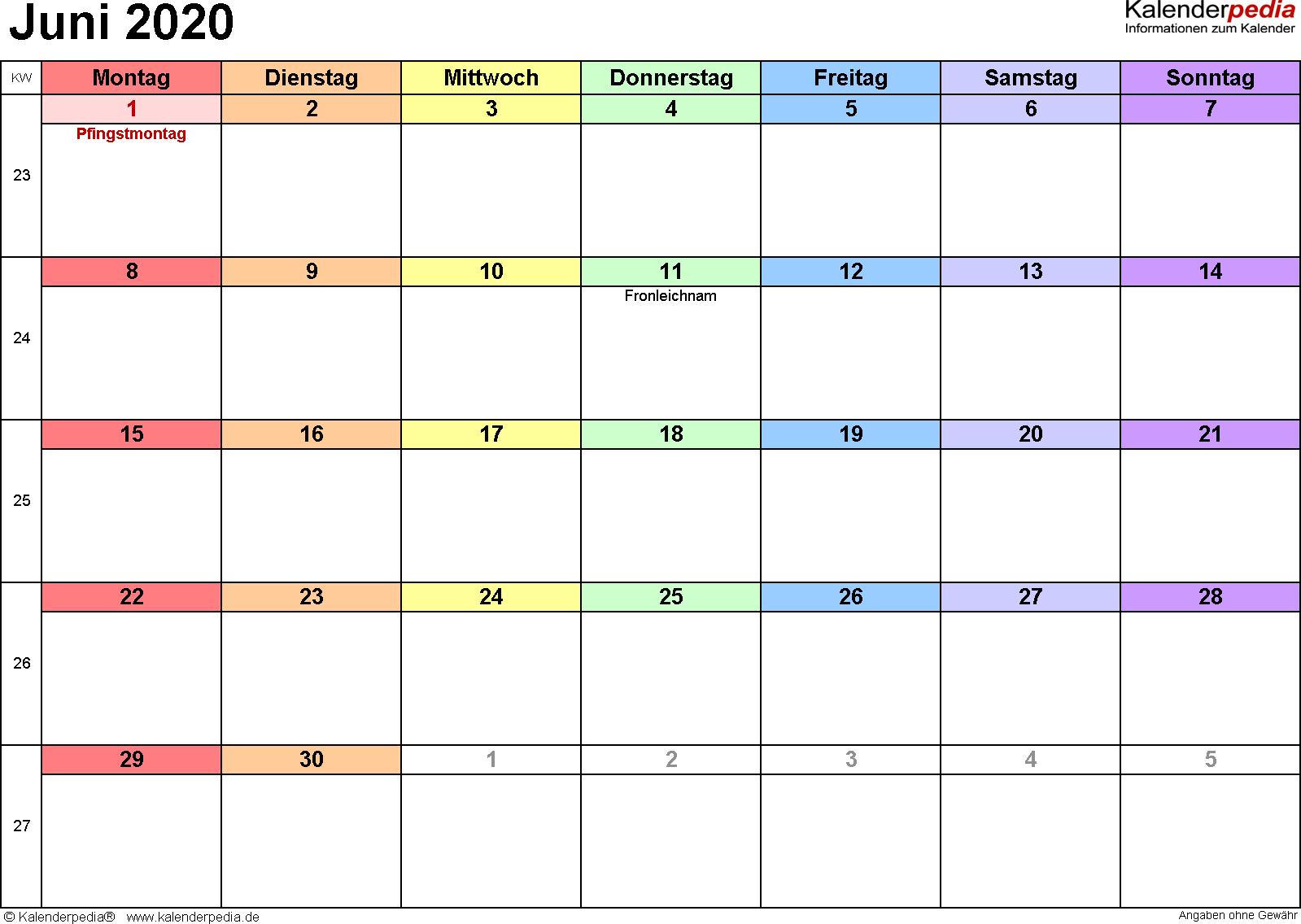 Kalender Juni 2020 (Querformat) als PDF-Vorlage