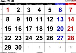 Kalender Juni 2020 im Querformat, grosse Ziffern