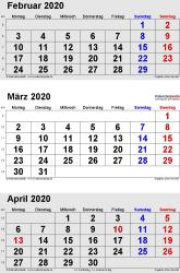 3-Monats-Kalender Februar/März/April 2020 im Hochformat