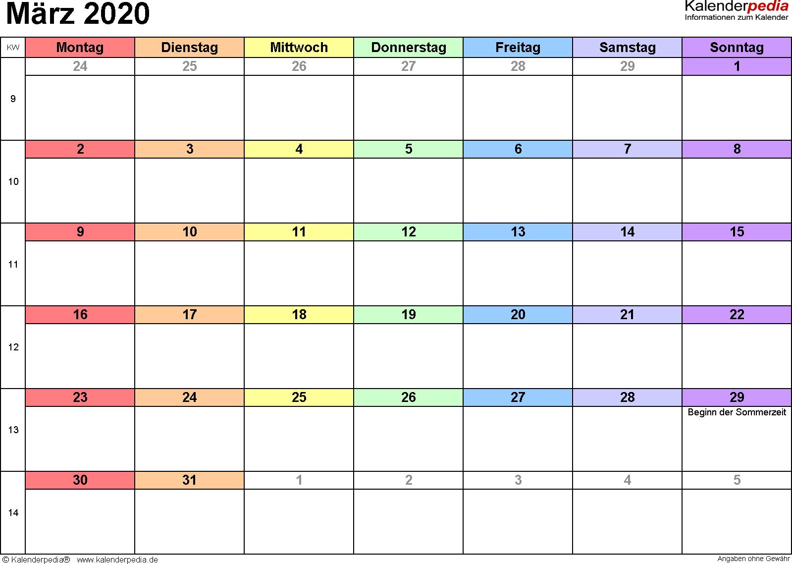 Kalender März 2020 (Querformat) als Excel-Vorlage