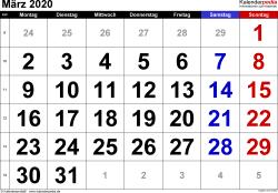 Kalender März 2020 im Querformat, grosse Ziffern