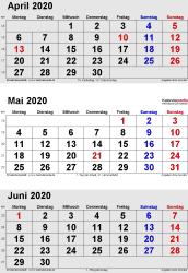 3-Monats-Kalender April/Mai/Juni 2020 im Hochformat