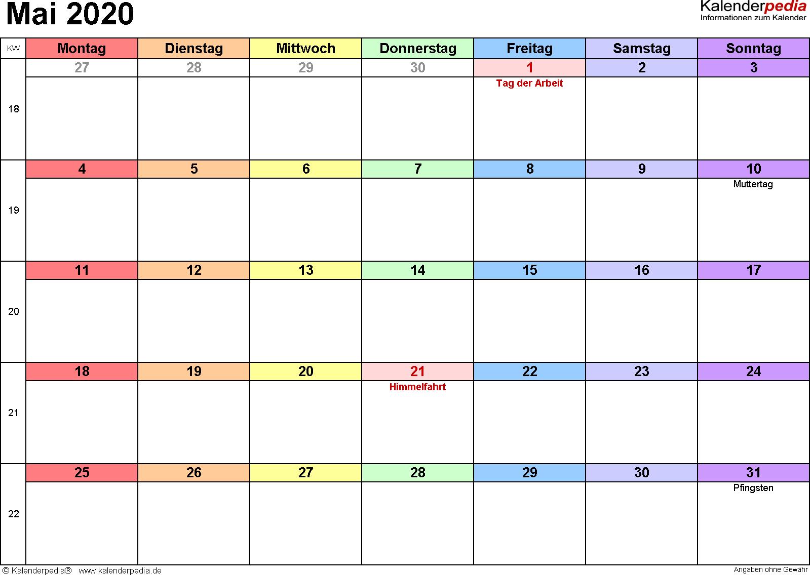 Kalender Mai 2020 (Querformat) als Word-Vorlage