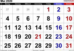 Kalender Mai 2020 im Querformat, grosse Ziffern