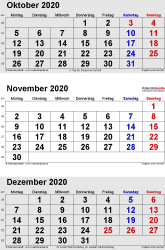 3-Monats-Kalender October/November/December 2020 im Hochformat