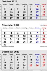3-Monats-Kalender Oktober/November/Dezember 2020 im Hochformat