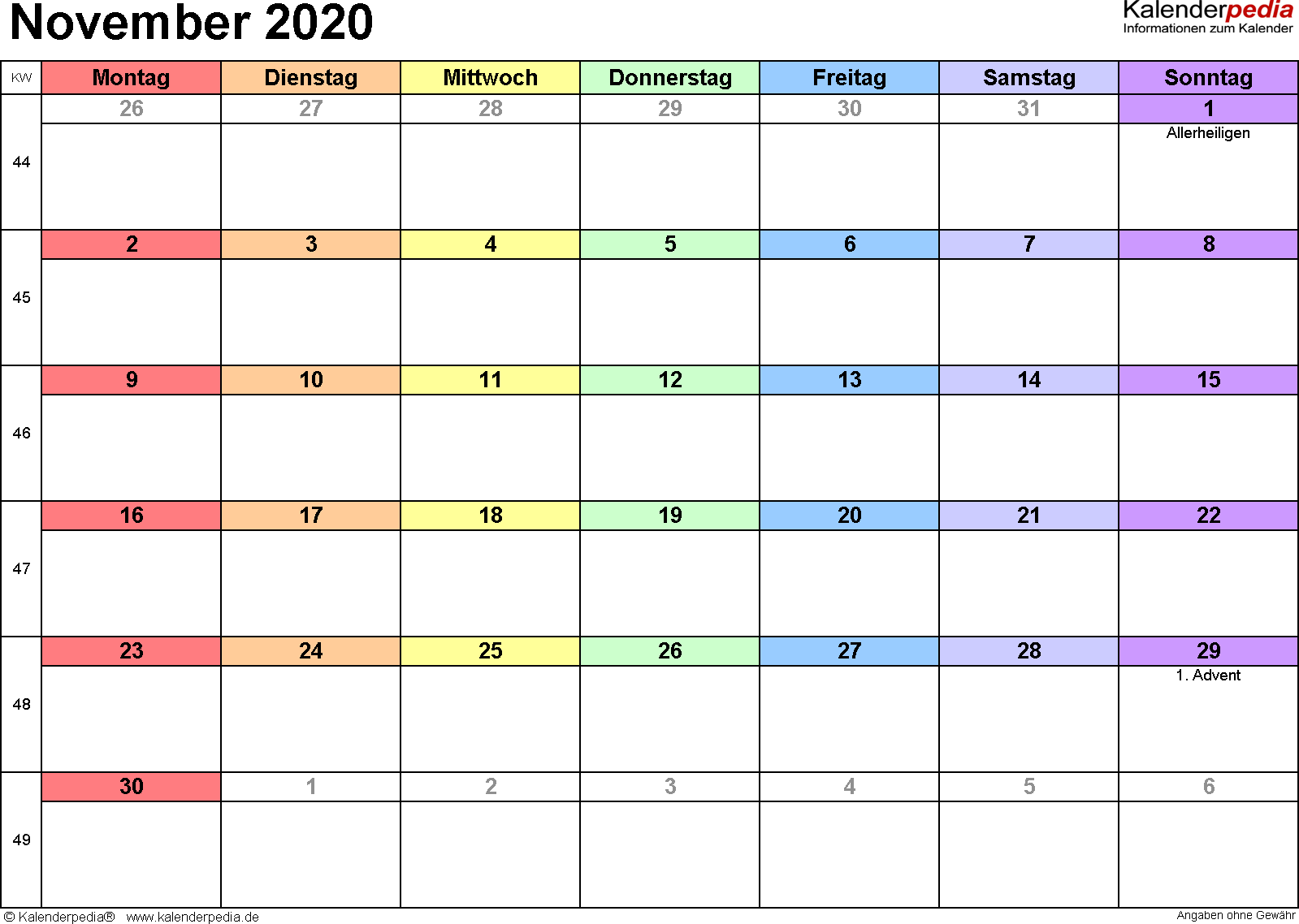 Kalender November 2020 (Querformat) als Word-Vorlage