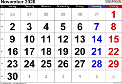 Kalender November 2020 im Querformat, grosse Ziffern