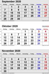 3-Monats-Kalender September/Oktober/November 2020 im Hochformat