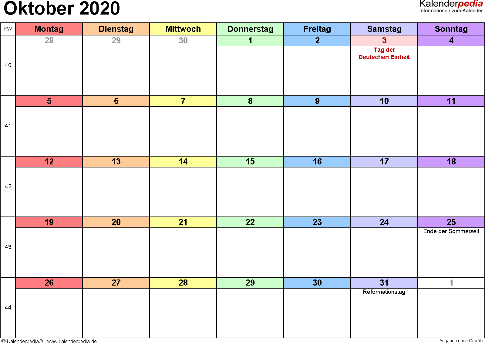 Kalender Oktober 2020 (Querformat) als PDF-Vorlage