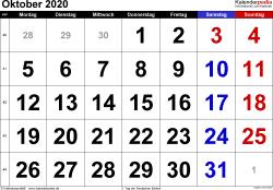 Kalender Oktober 2020 im Querformat, grosse Ziffern