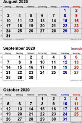 3-Monats-Kalender August/September/October 2020 im Hochformat