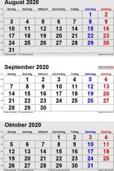 3-Monats-Kalender August/September/Oktober 2020 im Hochformat