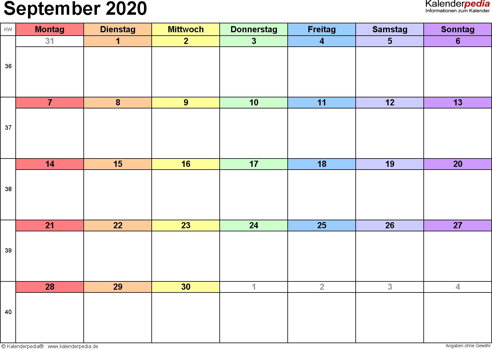 Kalender September 2020 (Querformat) als Word-Vorlage