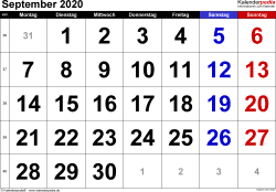 Kalender September 2020 im Querformat, grosse Ziffern