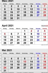 3-Monats-Kalender März/April/Mai 2021 im Hochformat