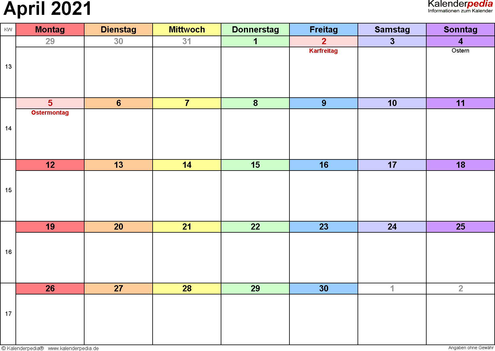 Kalender April 2021 (Querformat) als Word-Vorlage