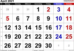 Kalender April 2021