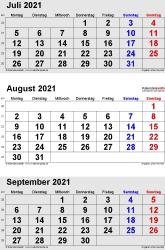 3-Monats-Kalender Juli/August/September 2021 im Hochformat