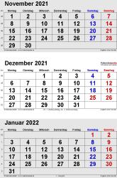 3-Monats-Kalender November/Dezember 2021& Januar 2022 im Hochformat