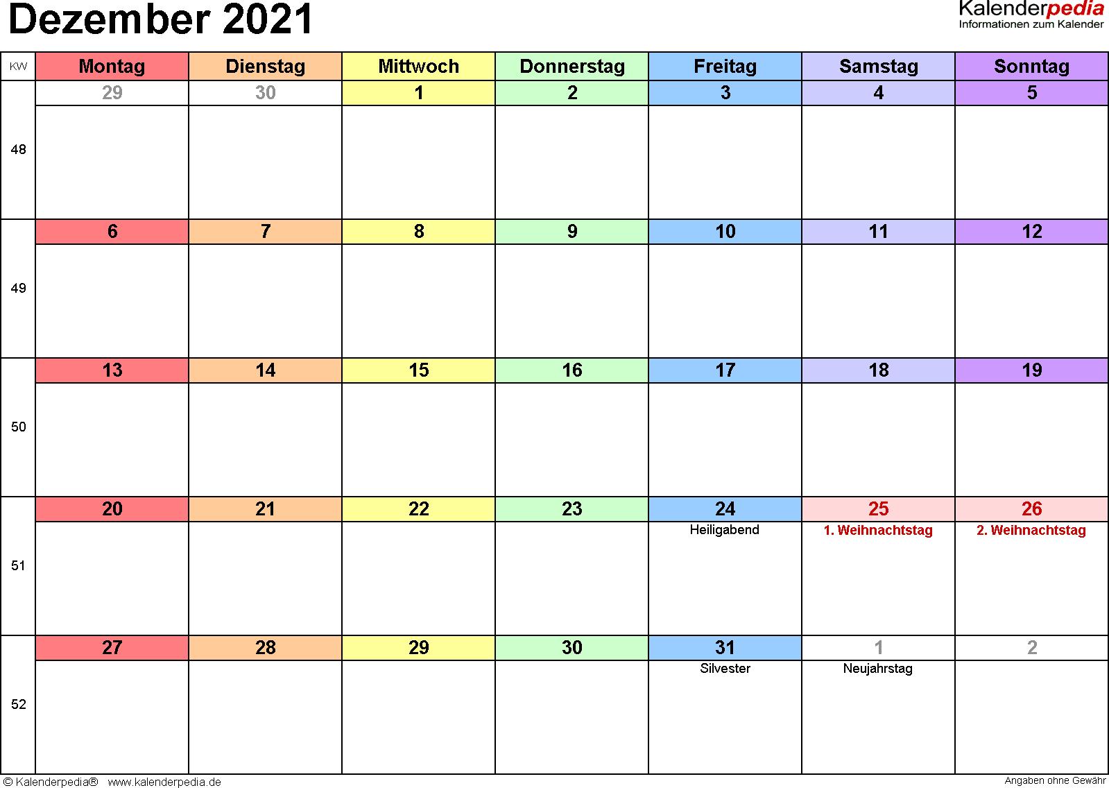 Kalender Dezember 2021 (Querformat) als Excel-Vorlage