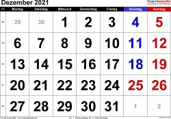 Kalender Dezember 2021 im Querformat, grosse Ziffern