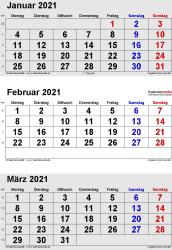 3-Monats-Kalender Januar/Februar/März 2021 im Hochformat