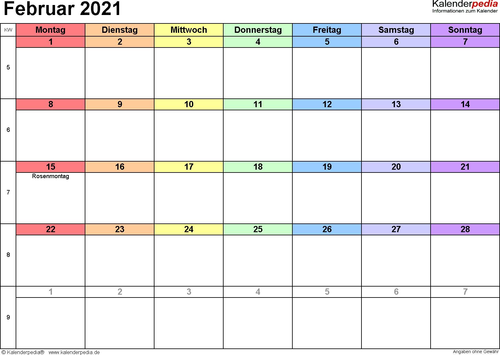 Kalender Februar 2021 (Querformat) als Excel-Vorlage