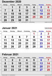 3-Monats-Kalender Dezember 2020/ Januar/Februar2021 im Hochformat