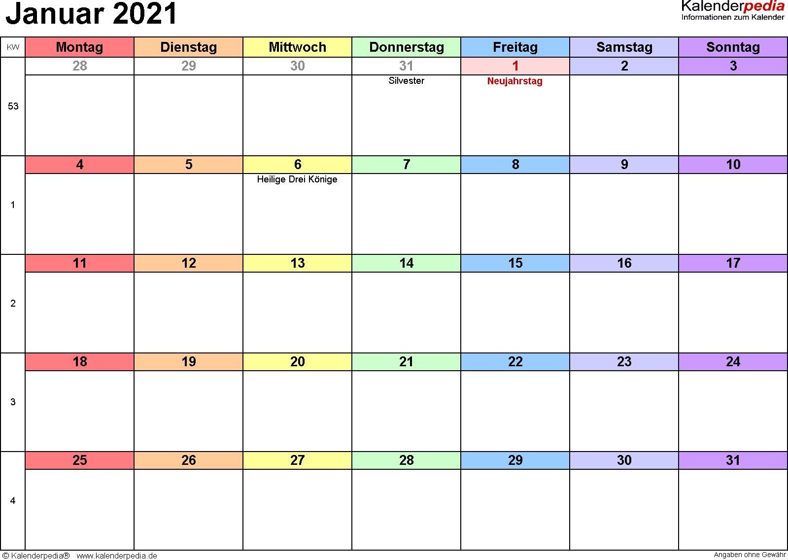 Kalender Januar 2021 (Querformat) als Excel-Vorlage
