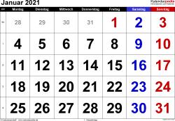 Kalender Januar 2021 im Querformat, grosse Ziffern