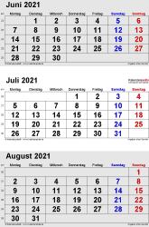 3-Monats-Kalender Juni/Juli/August 2021 im Hochformat