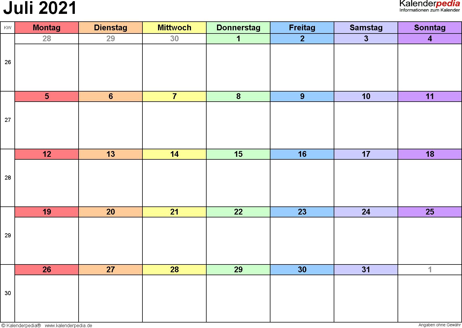 Kalender Juli 2021 (Querformat) als Excel-Vorlage