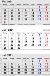 3-Monats-Kalender Mai/Juni/Juli 2021 im Hochformat