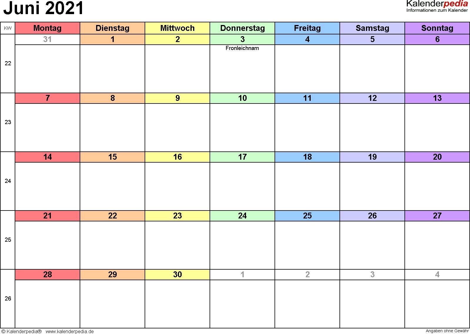 Kalender Juni 2021 (Querformat) als Excel-Vorlage