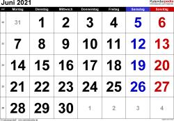 Kalender Juni 2021 im Querformat, grosse Ziffern